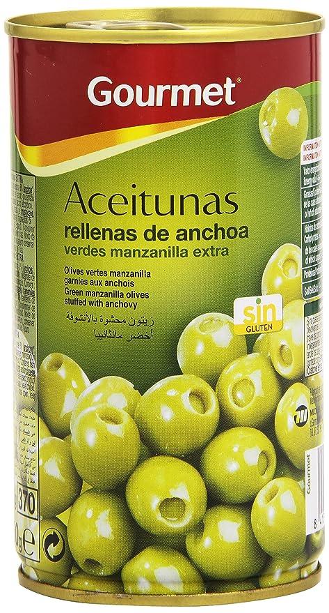 Gourmet Aceitunas Rellenas de anchoa, Verdes Manzanilla ...