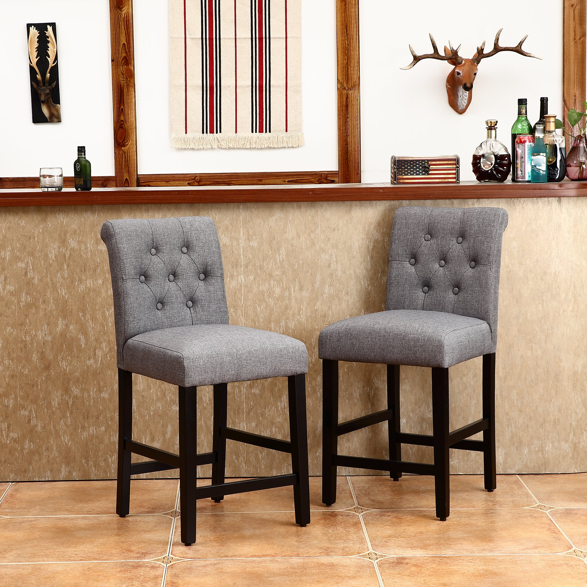 LSSBOUGHT Set of 2 Button-tufted Fabric Barstools Dining High Counter Height Side Chairs (Seat Height: 24'', Gray) by LSSBOUGHT