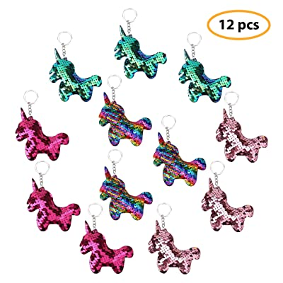 Unicorn Keychains Flip Sequin Keychains Colorful Unicorn Charms Unicorn Party Favors Unicorn Party Supplies Christmas Stocking Stuffers Christmas Gift For Kids Pack of 12 in 4 Colors: Toys & Games