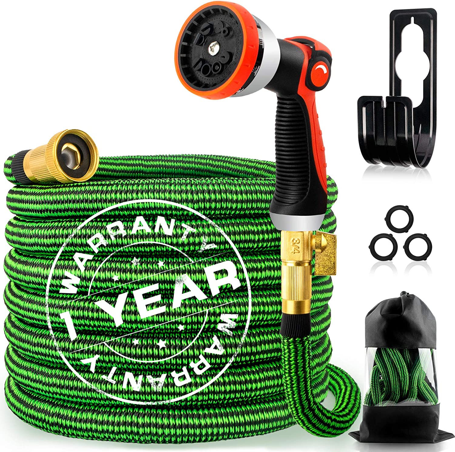 30ft Expandable Garden Hose, Flexible Water Hose with 10 Function Nozzle, 4-Layer Latex Core and 3/4