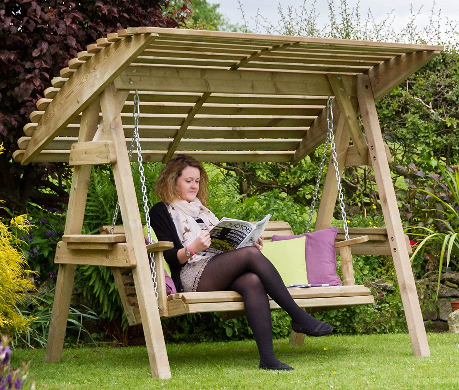 2 Seater Swing with Canopy Wooden Garden Swing 2 /& 3 Seat Chair Seat Hammock Bench Furniture Lounger
