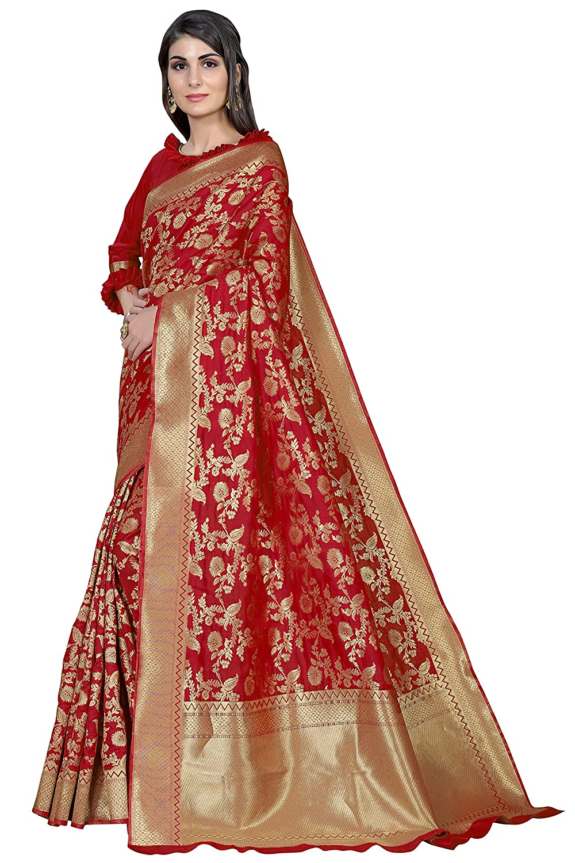 Women's Kanchipuram Art Silk Saree With Blouse Piece Red Color