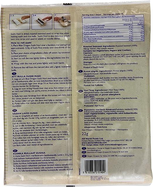 Blue Dragon Sushi Nori 22g: Amazon.es: Alimentación y bebidas