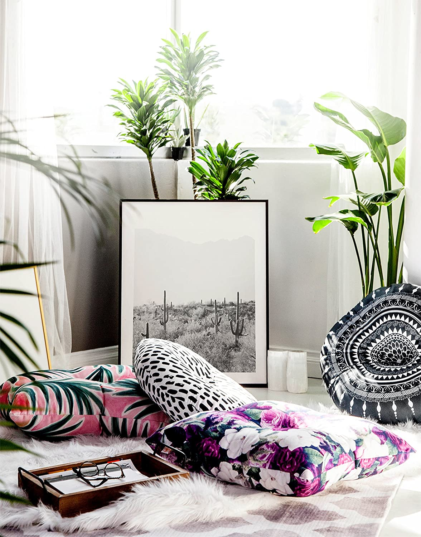 KESS InHouse Sonal Nathwani Multi Bouquet Orange Green 26 x 26 Square Floor Pillow