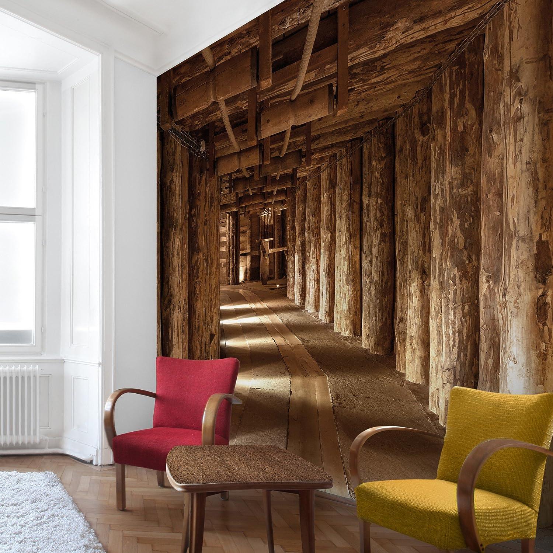 Apalis Vliestapete Alte Goldmine Fototapete Quadrat   Vlies Tapete Wandtapete Wandbild Foto 3D Fototapete für Schlafzimmer Wohnzimmer Küche   Größe  240x240 cm, braun, 95236