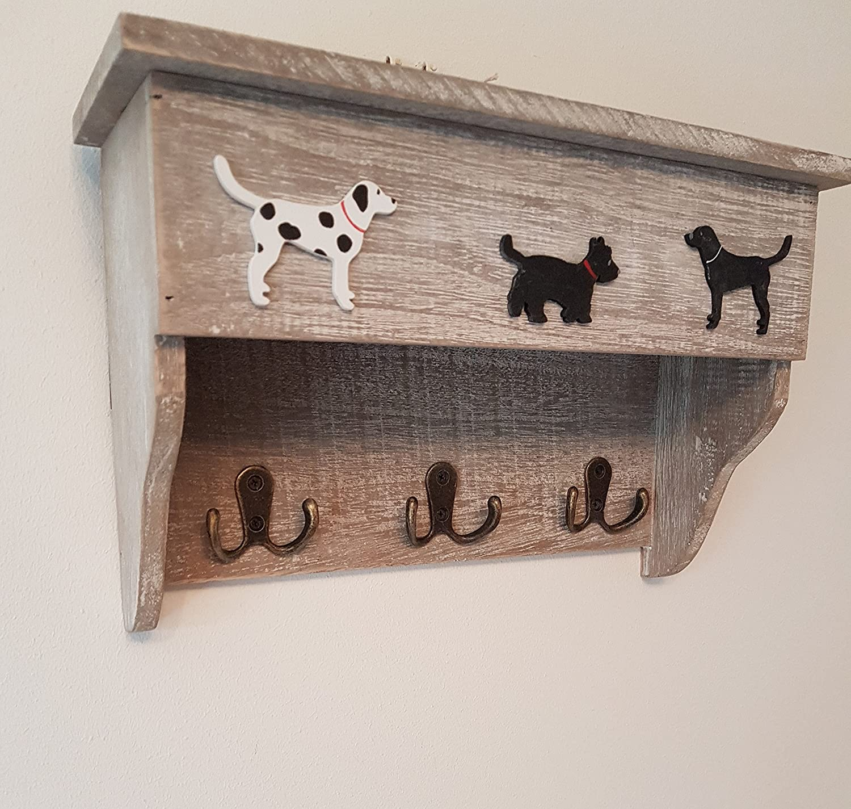 Rústico de madera estantería con ganchos, perchero, diseño ...