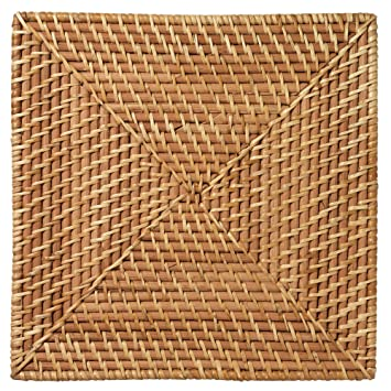 Merritt Color Swirl Rattan 13 Inch Square Placemats, Set Of 6, Natural