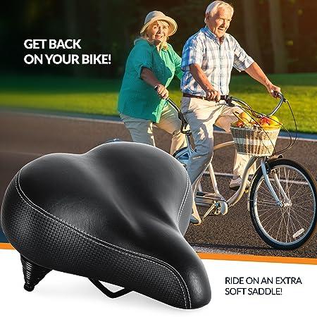 Sillín de Bicicleta más cómodo para Personas Mayores – Extra Ancho y Acolchado para Hombres y Mujeres cómodo – Asiento de Repuesto Universal para ...