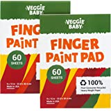 Veggie Baby Art Paper Pad 2-Pack for Finger Painting, Drawing and Coloring, 60 Sheets, Kid's and Toddler's Multimedia Paint U