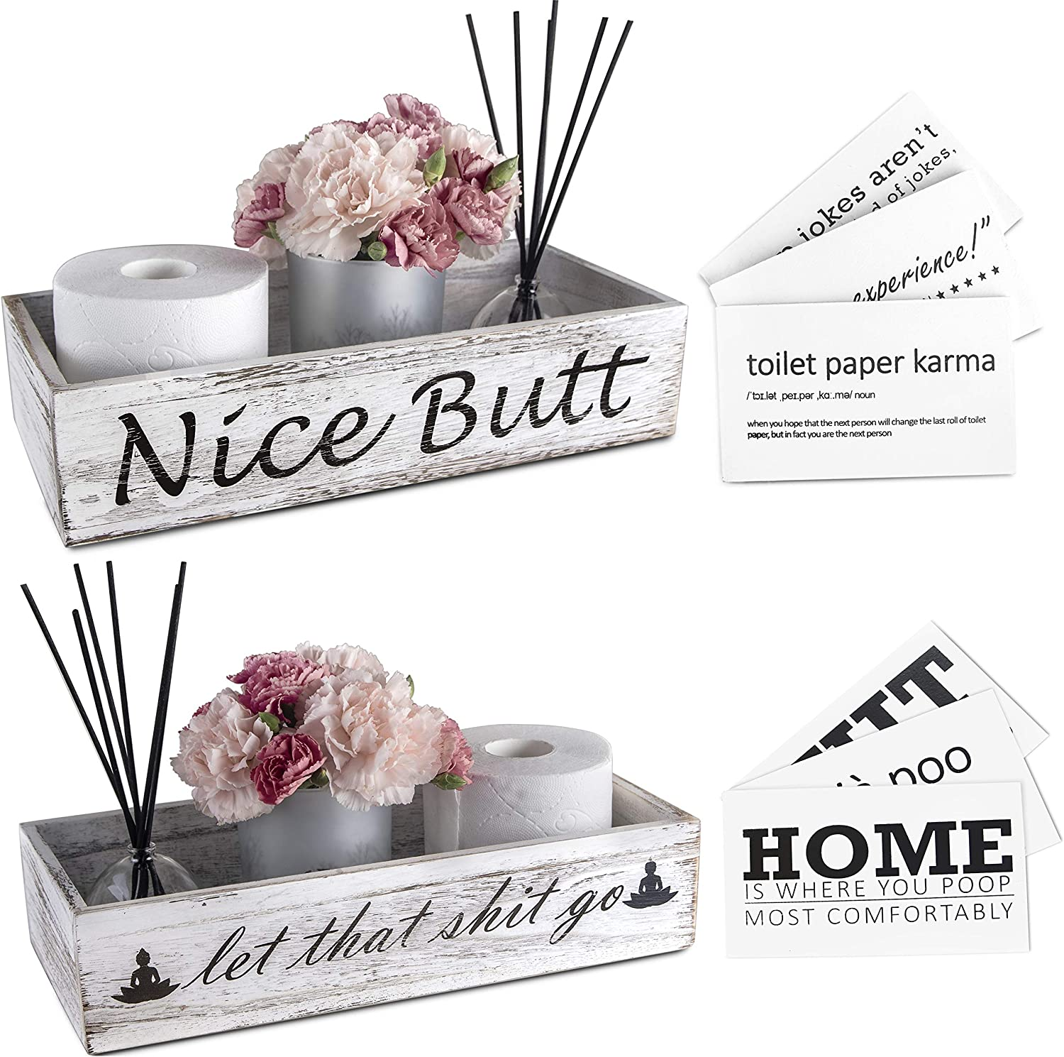 Nice Butt Bathroom Decor Box & Wall Art Signs - 2 Sides with Funny Sayings for Farmhouse Home Decor, Rustic Bathroom Decor, Toilet Paper Storage, Bathroom Signs (White)