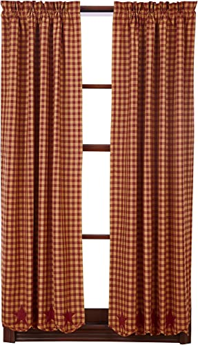 VHC Brands Burgundy Star 36 x 63 Scalloped Curtain Panel Set of 2