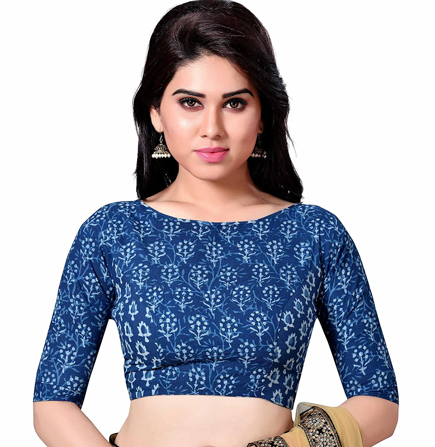 60d3ab1b9abf05 STUDIO SHRINGAAR LATEST PURE COTTON BLUE JAIPURI BLOCK PRINTED WOMENS SAREE  BLOUSE WITH BOAT NECK AND ELBOW LENGTH SLEEVES  Amazon.in  Clothing   ...