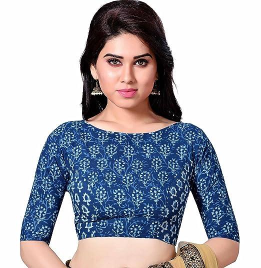 e3698a68eb322b Studio Shringaar Cotton Saree Blouse(SII1887 34 Indigo Blue XX-Small)