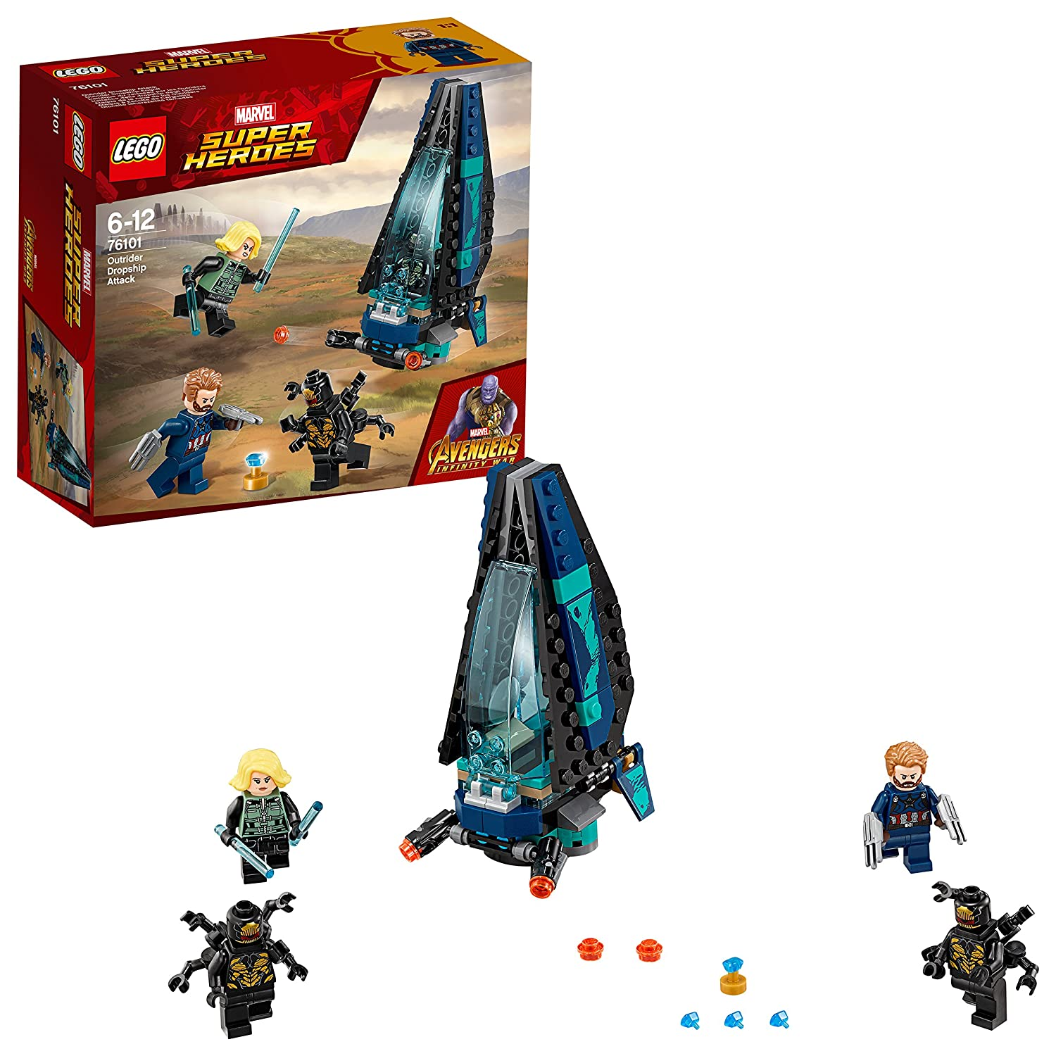 Lego 'Marvel Super Heroes - Outrider Dropship Attack' Set - 76101 Captain America Superhero Toys for Kids