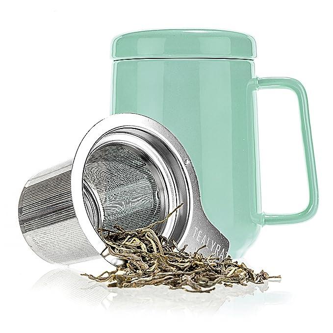 2 opinioni per Tealyra- PEAK Mug-Tazza da Tè in Ceramica 480ml- Turquoise Tea Cup Infuser-