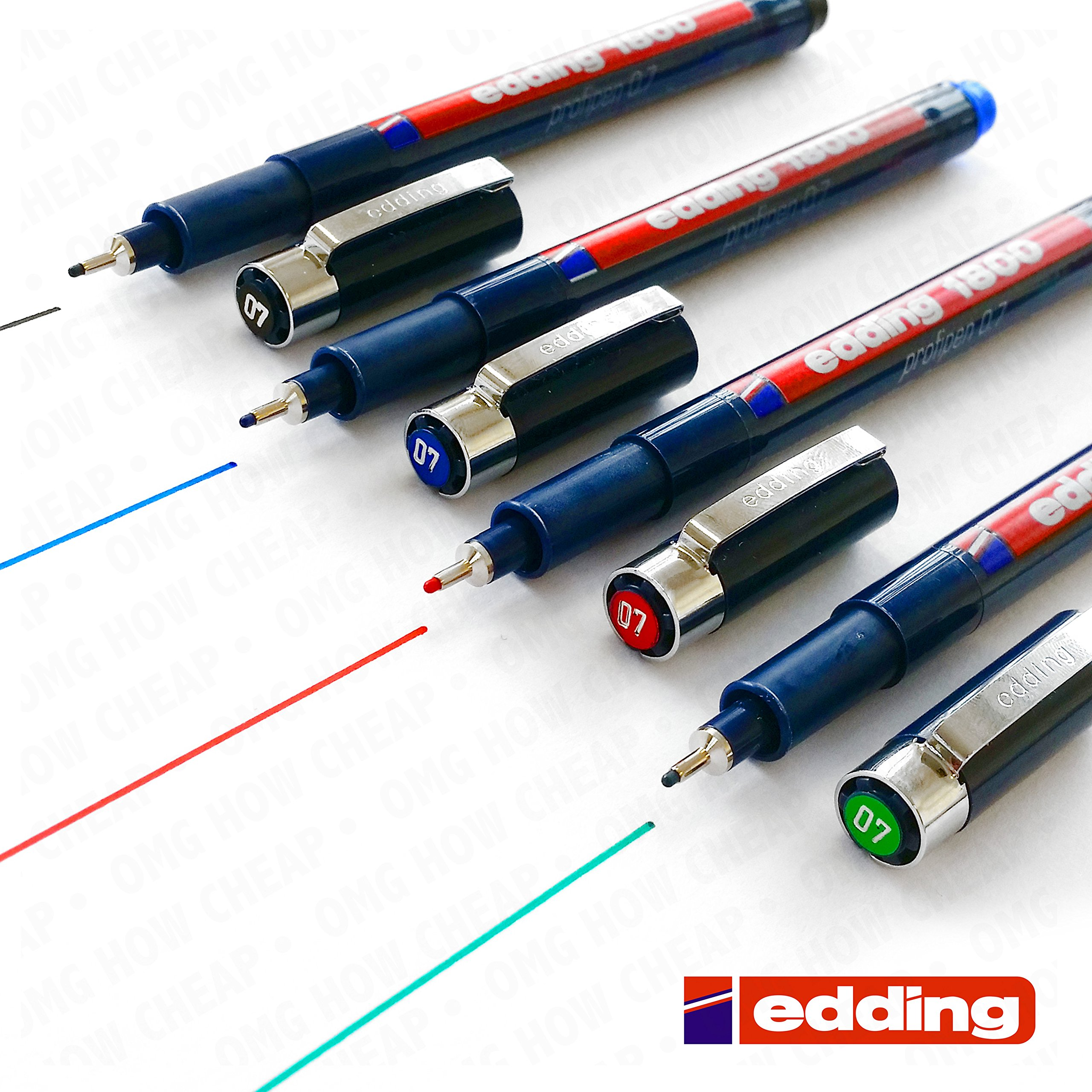 Edding 1800 Profipen Pigment Liner Drawing Pen - 0.7mm - [Set of 4 - Black, Blue, Red, and Green]