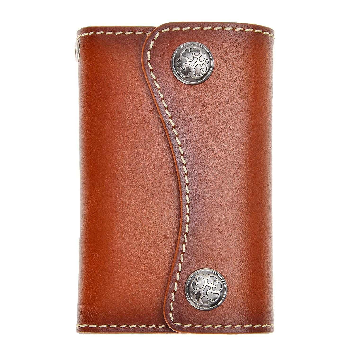 Genuine Leather 6 Hook Key Holder Wallet Pouch Case Button Closure for Mens Womens by ZLYC with Card Holder, Brown ZYJ-KW-003-BR