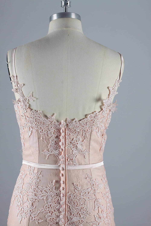 Venus Bridal Damen Meerjungfrau Spitze Spitze Spitze Partykleid Einfache Trompete Abendkleid Spitze Abendkleid Stil6 Rosa 718369