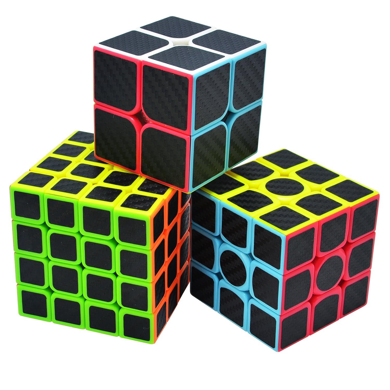 Speed Cube 3x3+2x2+4x4 Cubo de la Velocidad Fibra De Carbono Caja de Regalo de 3 Piezas Set Negro Maomaoyu Cubo Magico Pack