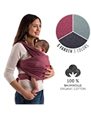 Baby Sling | 100% Natural Organic Cotton Nursing Carrier | Adjustable For Newborns, Infants & Toddlers | Cozy & Soothing Wrap | Hands Free Ergonomic Support | Incl. Wrapping Guide | by Laleni (Red)
