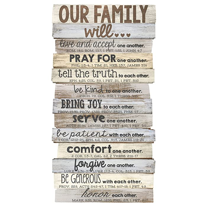 "Lighthouse Christian Products Our Family Will Medium Wall Décor 8 1/2"" x 16 1/2"""