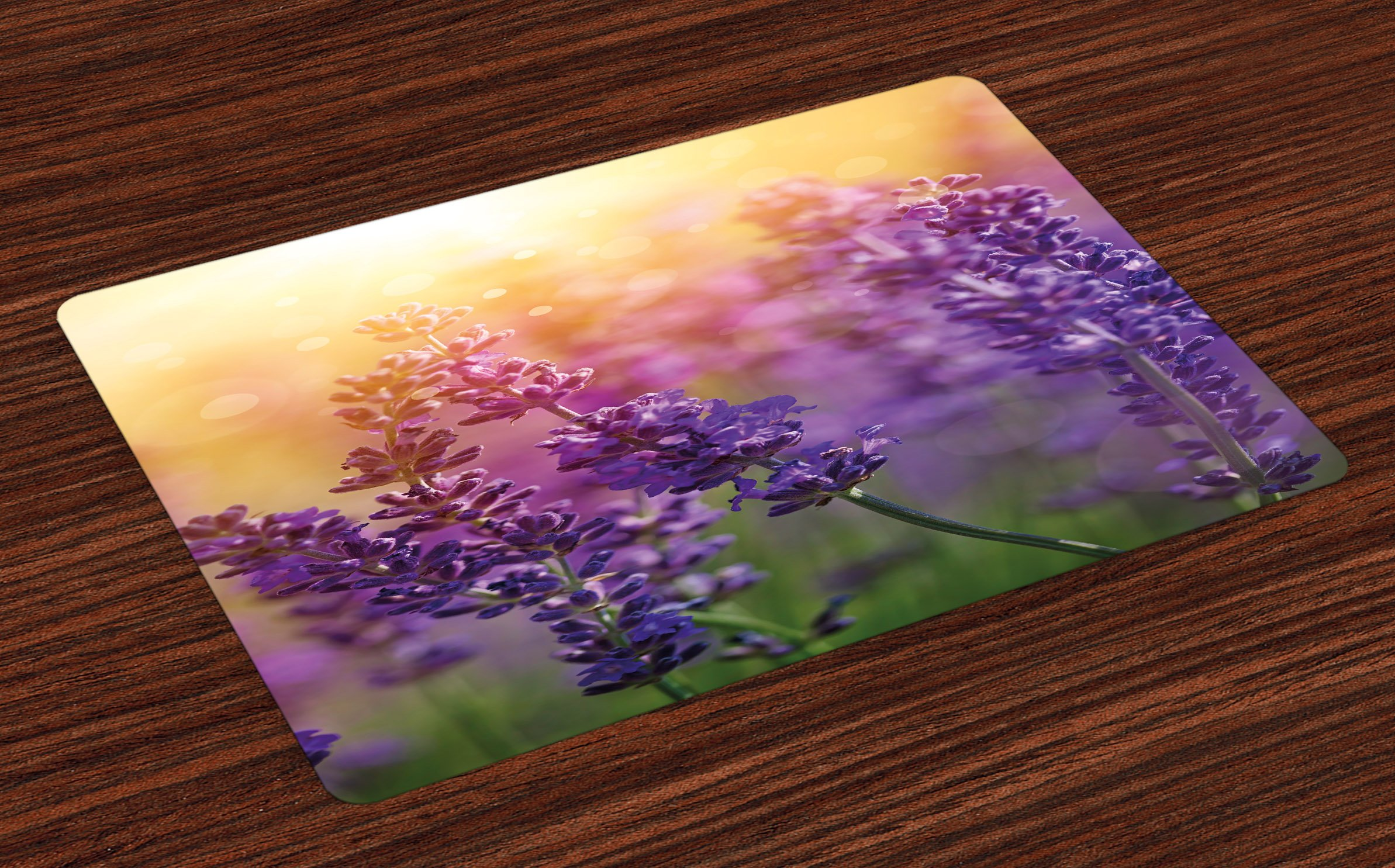 Lunarable Lavender Place Mats Set of 4, Detail of Scenic Gardening Plants Flourishing in Springtime Fresh Woods, Washable Fabric Placemats for Dining Room Kitchen Table Decor, Violet Apricot Green