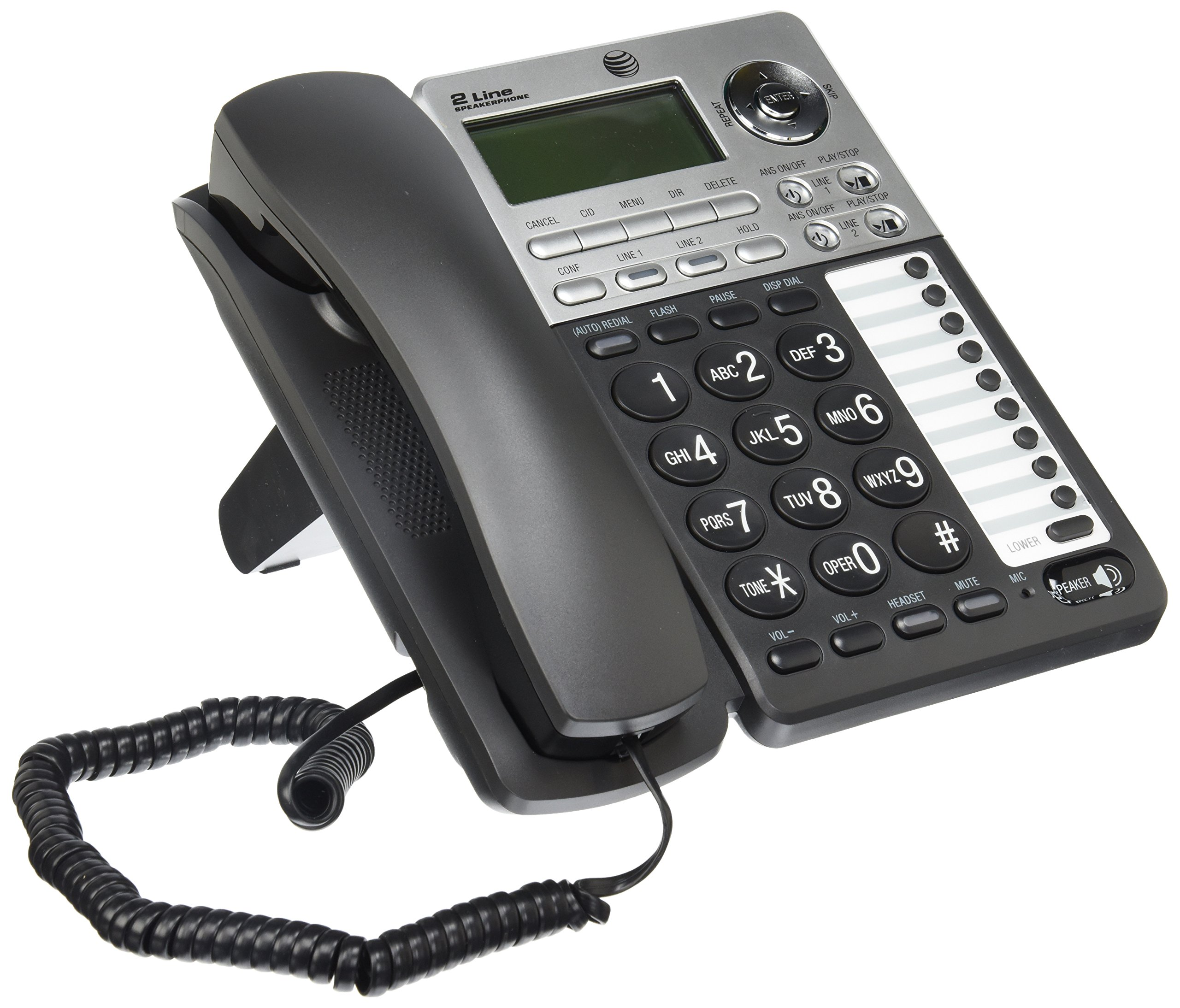 AT&T ML17939 2-Line Corded Telephone with Digital Answering System and Caller ID/Call Waiting, Black/Silver by AT&T