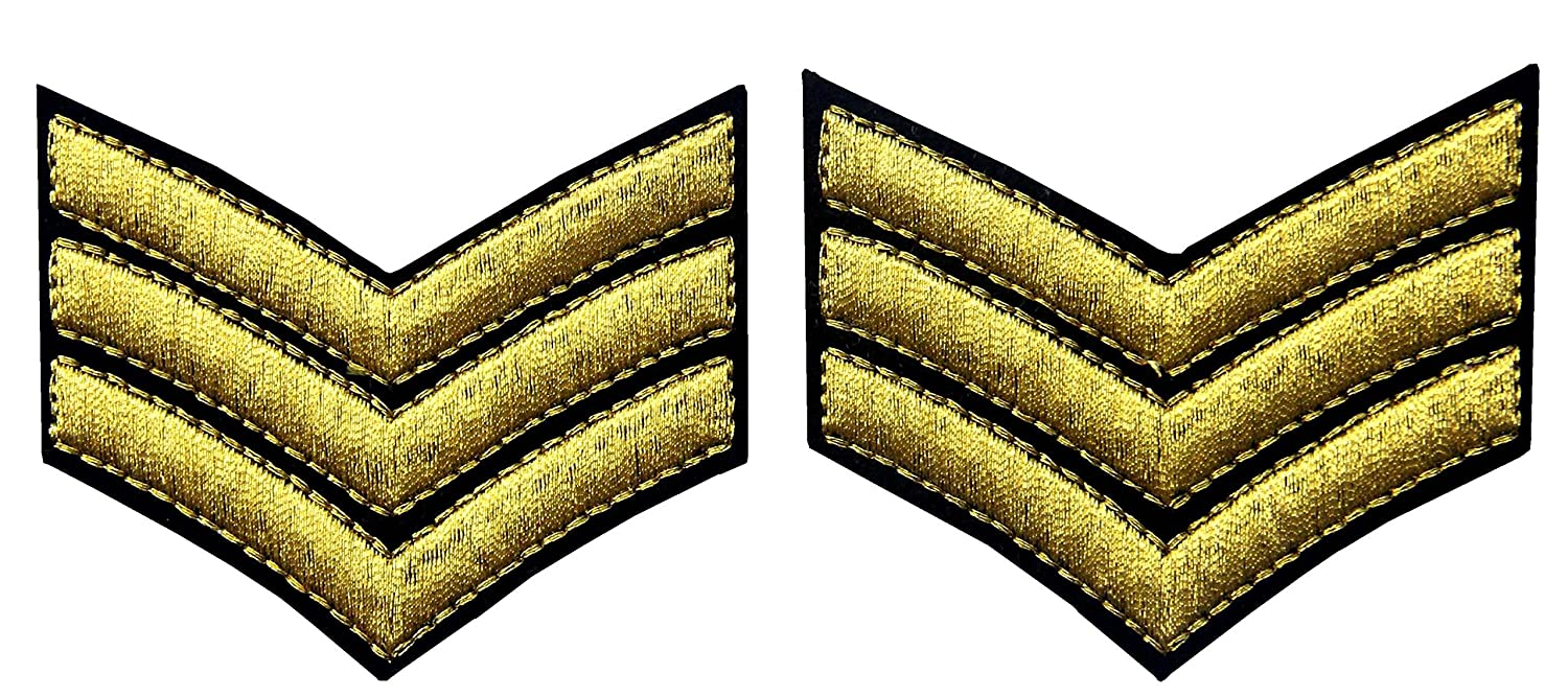 Millitary Uniform Chevrons Sergeant Stripes US Army Embroidered Arms Emblem Iron On Sew On Shoulder Patch, Silver, Pack of 2 EmbTao