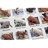 Montessori Animal Match - Miniature North American Wildlife Animal Toy Figurines with Matching Cards - 2 Part Cards. Montessori learning toy, language materials Busy Bag Activity
