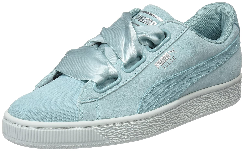 Puma Suede Heart Pebble Wn's, Zapatillas para Mujer 40.5 EU|Verde (Aquifer-blue Flower)