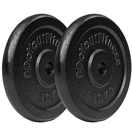 2x 10 kg pesas de hierro fundido 100% / Negro / Orificio de 30 /