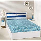 Amazon Brand - Solimo Bubble Bounty 144 TC 100% Cotton Double Bedsheet with 2 Pillow Covers, Blue