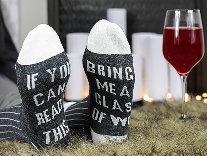 1 Pairs Fashion Women Mens  If You can read this Bring Me a Glass of Wine Socks