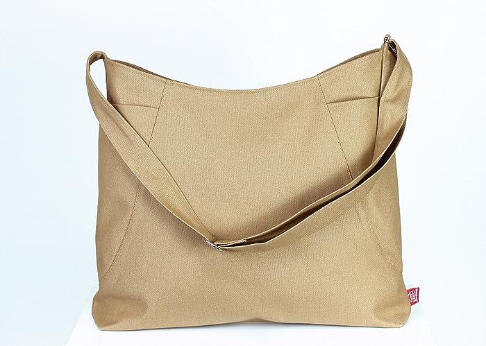Camel Color Hobo Bag Two Large Pocket On Both Side Canvas Shoulder Crossbody Handmade High Quality