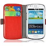 Housse Galaxy S3 Mini, Coque Galaxy S3 Mini | JAMMYLIZARD | Housse portefeuille Deluxe aspect cuir range cartes fermeture magnétique, Rouge
