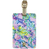 Lilly Pulitzer Leatherette Luggage Tag with Secure Strap, Colorful Suitcase Identifier for Travel