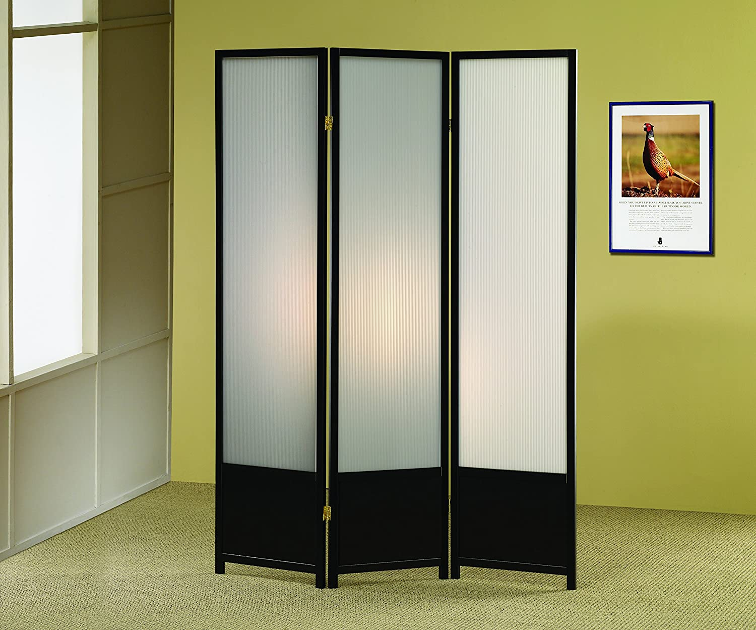 Coaster Home Furnishings 3-Panel Folding Floor Screen with Translucent Inserts Black
