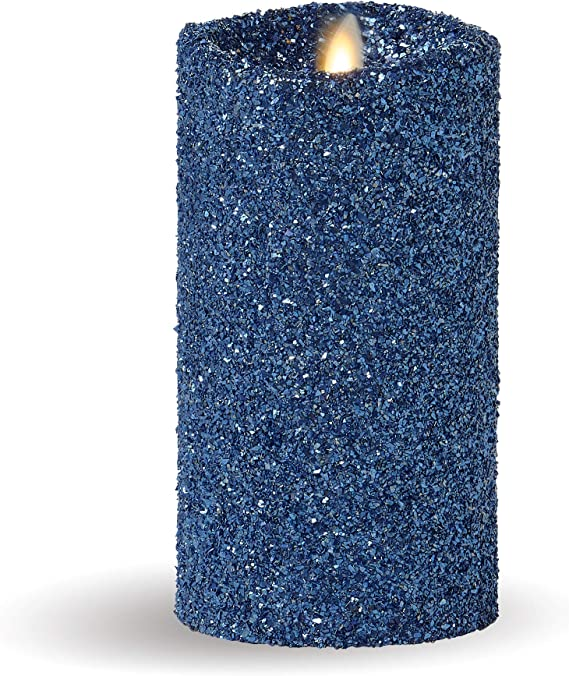 "Luminara 7"" Flameless Candle Pillar Glitter LED Light Real Flame Effect Remote"