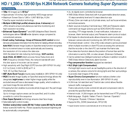 Amazon.com: Panasonic HD Network Camera WO Objective, WV-SPN311: Computers & Accessories