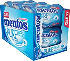 Mentos Pure Fresh Sugar-Free Chewing Gum with Xylitol, Fresh Mint, Non Melting, Non Melting, 50 Piece Bottle (Pack of 6)