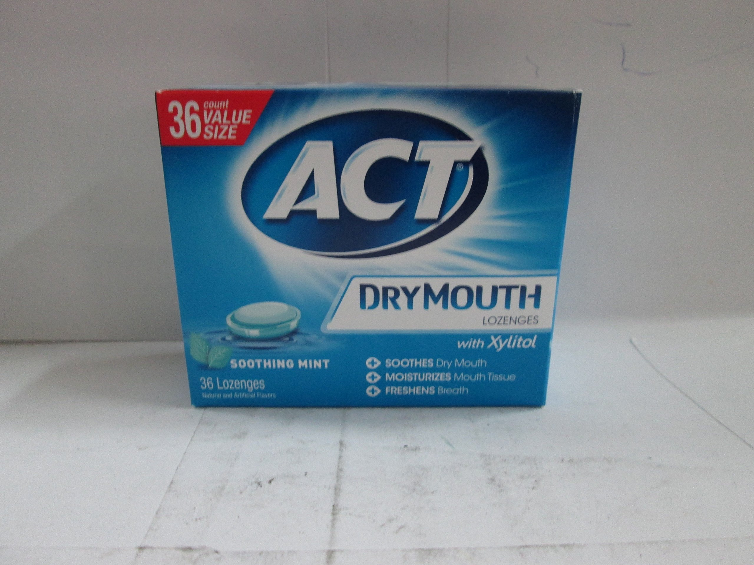 ACT Total Care Dry Mouth Lozenges Mint 36 Count Per Box (4 Boxes)