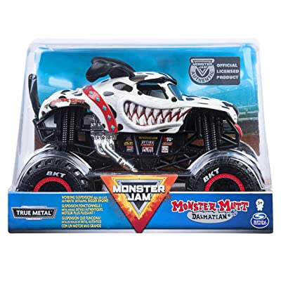 Monster Jam, Official Monster Mutt Dalmatian Monster Truck, Die-Cast Vehicle, 1:24 Scale, Multicolor: Toys & Games