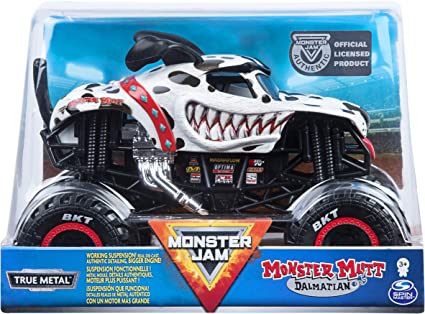 Amazon Com Monster Jam Official Monster Mutt Dalmatian Monster Truck Die Cast Vehicle 1 24 Scale Multicolor Toys Games