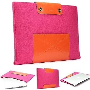 URCOVER Funda Portátil / Tablet + Bolsillo | Macbook Pro 13 Pulgadas | Estuche Protector Ordenador Moderno en Fieltro en Rosa + Naranja | Cover Case Laptop ...