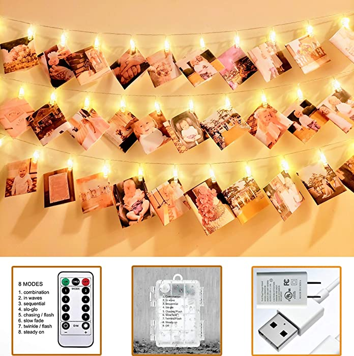 VNSG 40 LED Photo Clip String Lights for Bedroom Wall Decor?Battery or Plug In?Fairy Lights to Hang Pictures Christmas Cards, Wedding Photos?20ft Soft White?Photo Lights with Clips for Picture Hanging