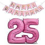 """Zenball Luftballons Geburtstag XXL 101cm Pink Set mit Girlande - Riesen Folienballons in 40"""" Geburtstagsdeko Ideale Deko (Zahl 25)"""