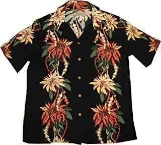 product image for Paradise Found Women's Christmas Poinsettia Panel Aloha Shirt, Black, XS