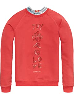 Scotch&Soda R′Belle Relaxed with Allover Printed Woven Collar and Chest AR, Sweat-Shirt Fille, (Antra Melange 608), 176 (Taille Fabricant: 16)