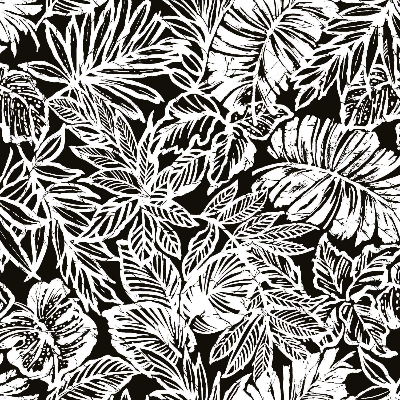 RoomMates Black Batik Tropical Leaf Peel and Stick Wallpaper