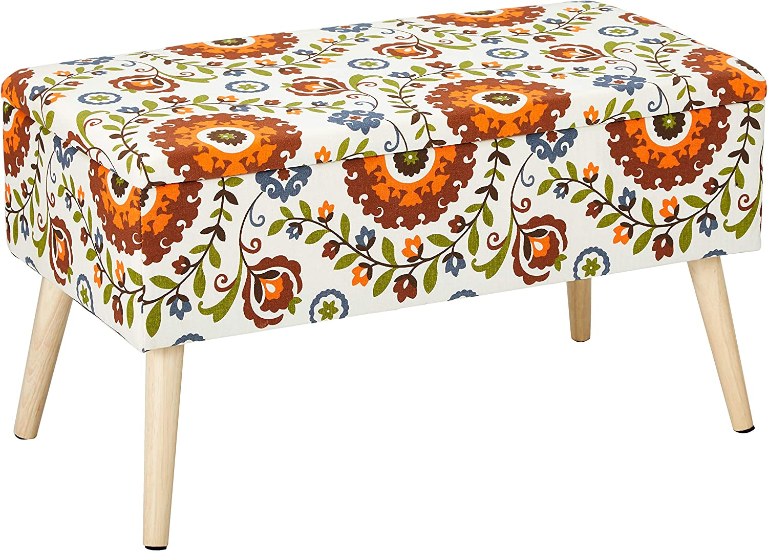 Otto Ben 30 Inch Storage Ottoman Bench With Easy Lift Top Upholstered Mid Century Shoe Entryway And Bedroom Retro Floral Amazon Ca Home Kitchen